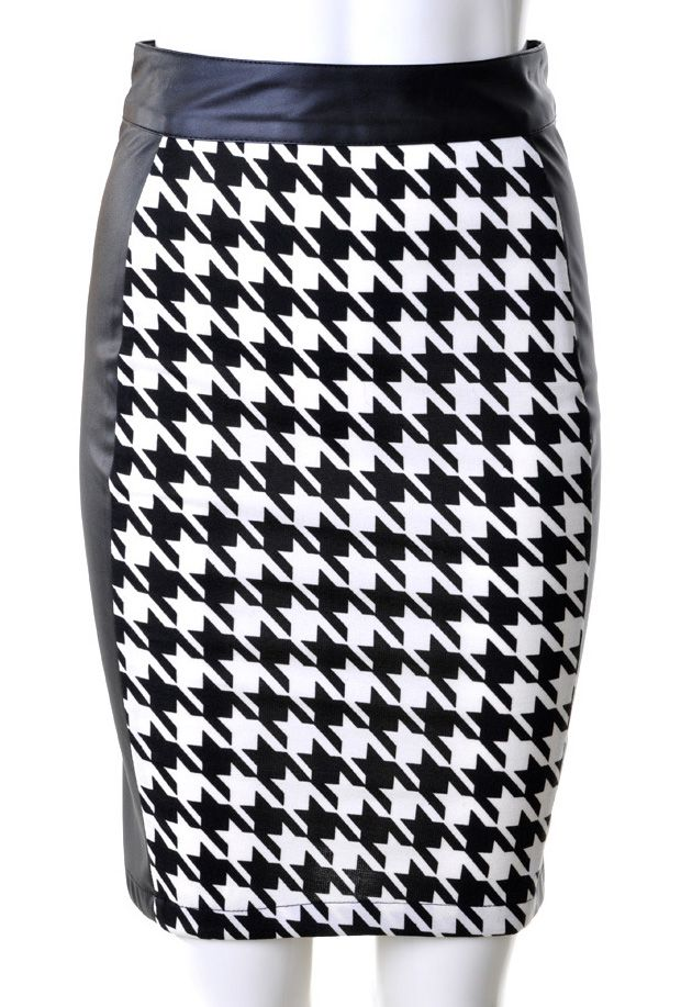 Shop Black White Houndstooth Leather Back Midi Pencil Skirt Online
