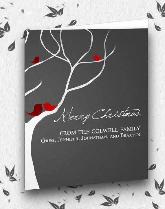 Personalized Christmas Cards- Love Birds in a Tree- Christmas Gift