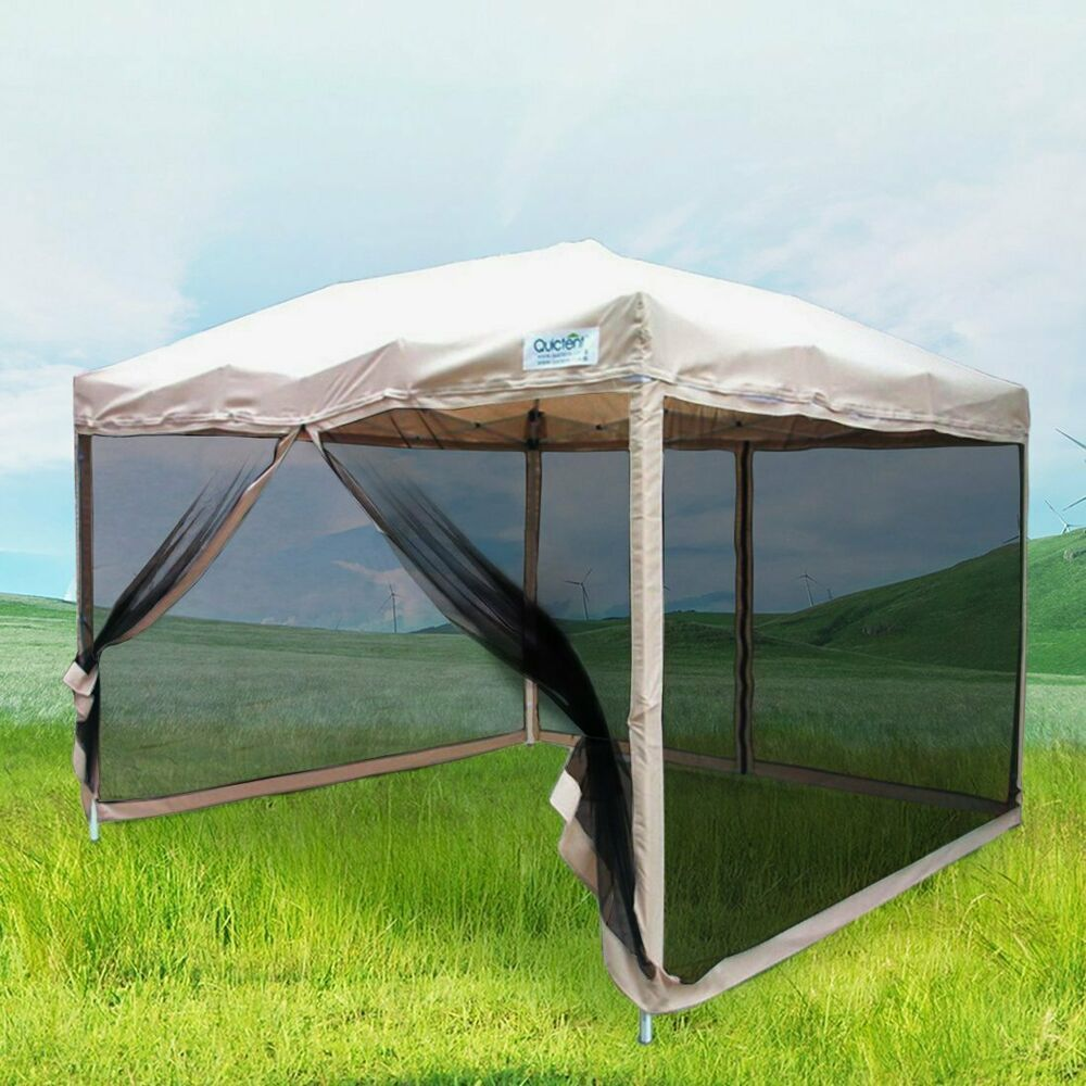 Gazebo Pop up Canopy 10x10 with Netting Screen Sides Walls