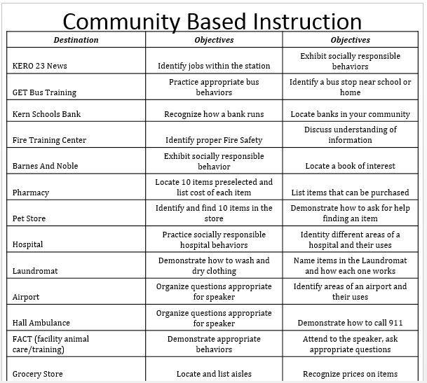Empowered By THEM Community Based Instruction Idea List CBIu0027s - skills list