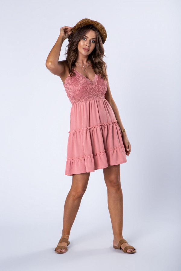 Sukienka Rozkloszowana Rozowa Z Koronkowa Gora Fashion Style Vintage