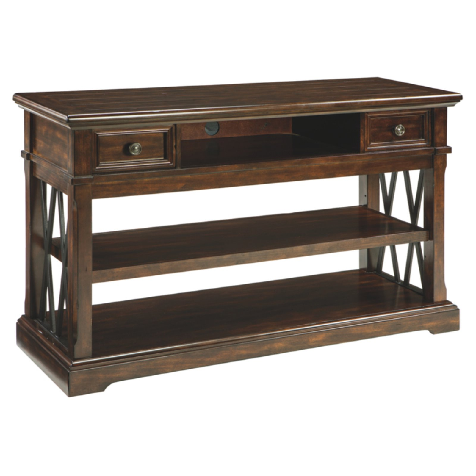 Signature Design By Ashley Roddinton Rectangular 2 Drawer Sofa Table In 2019 Products Traditional Sofa Dark Brown Sofas Sofa Table Design