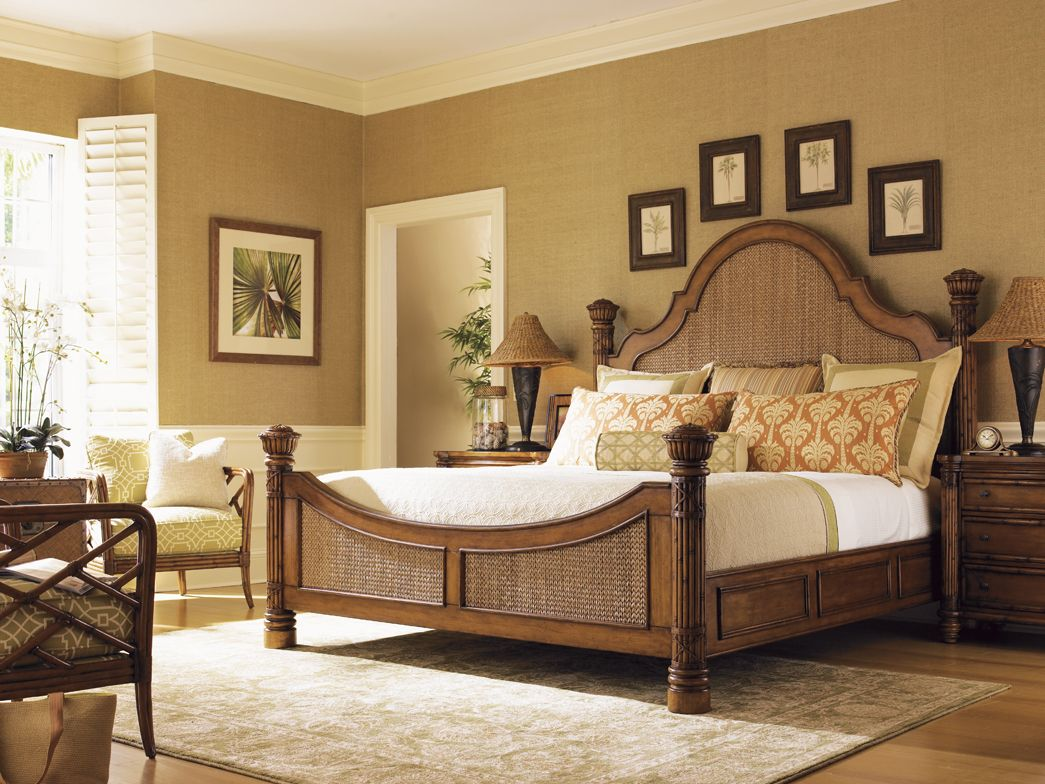 Tommy Bahama King Bed with Woven Lampakanai in the