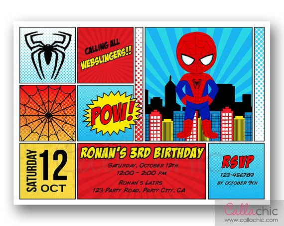 Superhero birthday invitation printable boy superhero comic spiderman birthday invitation printable boy by callachic on etsy 1400 filmwisefo Gallery