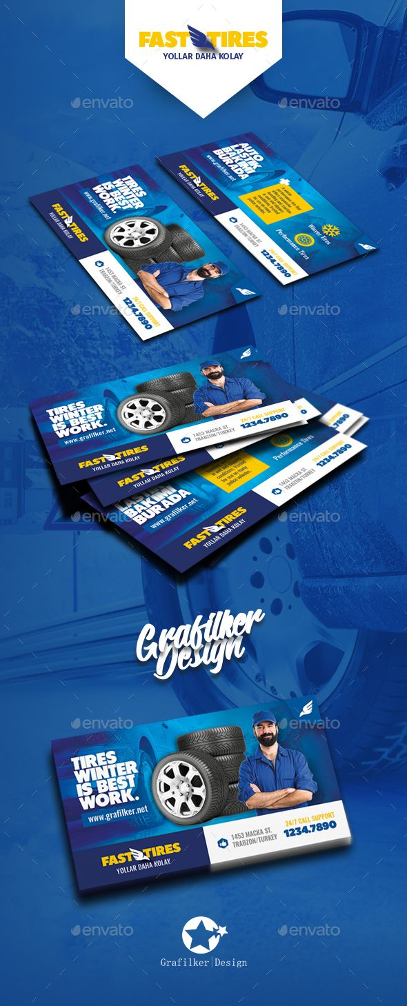 Auto Tires Business Card Templates | Tarjetas, Tarjeta de visita y ...