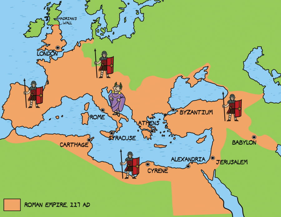 Ancient Rome Greece Empire Map Labeled Romans In Britain Large