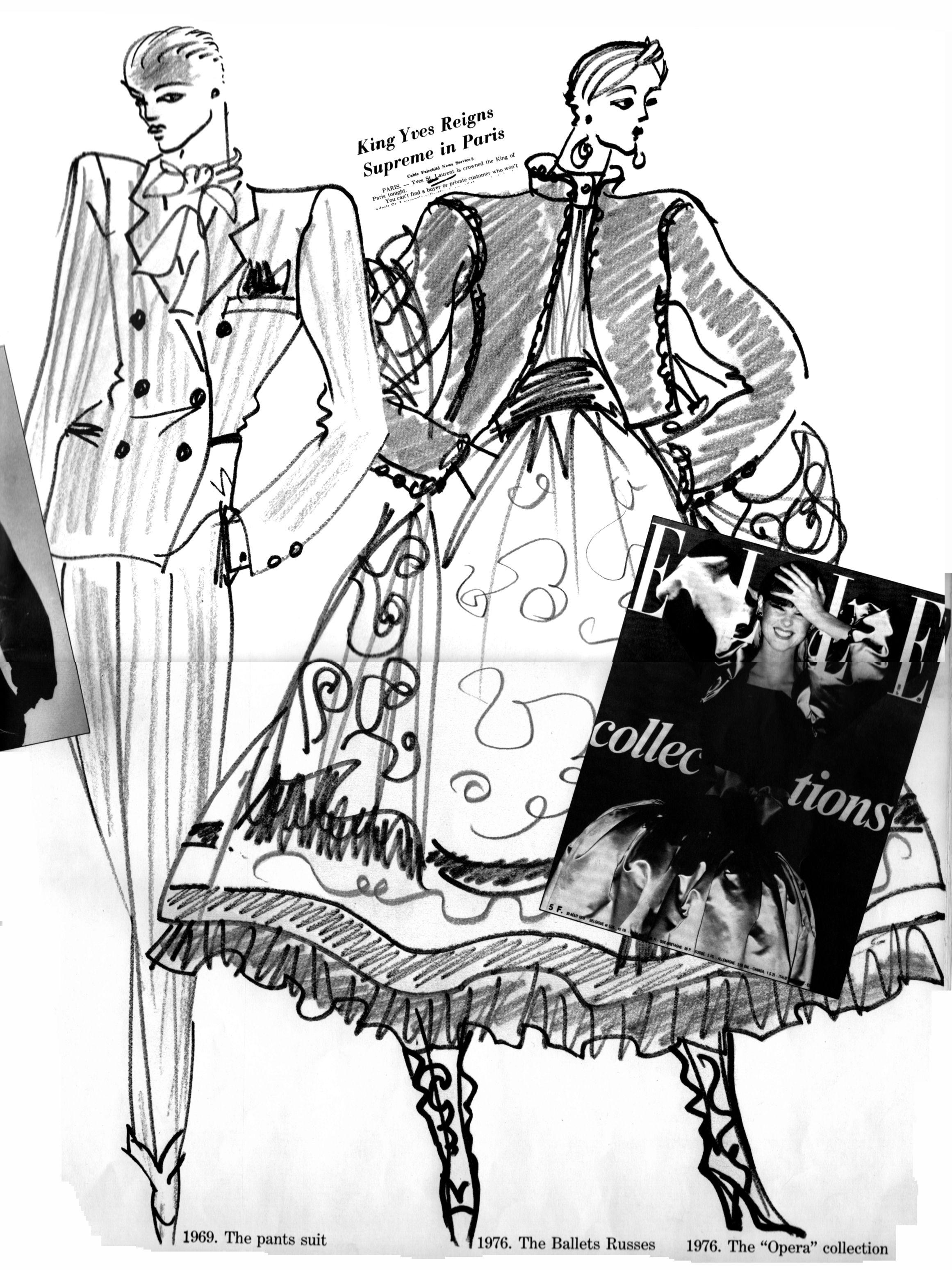 yves saint laurent from the hand of the designer pinterest Clothing Sketches for Girls yves saint laurent ysl saint laurent saint laurent rive gauche fashion illustration tutorial