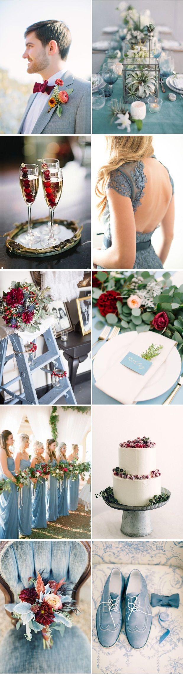 November wedding decoration ideas  dustybluecranberryautumnweddingcolourpalette  Future Wedding