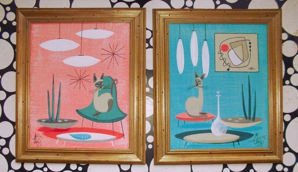 2 EL GATO GOMEZ PAINTINGS RETRO 1950S VINTAGE MID CENTURY MODERN SIAMESE CATS #Modernism