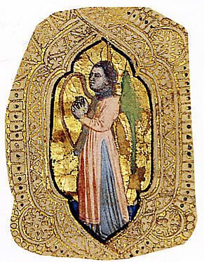 Angel with Harp. Cristoforo Cortese (Italian, Venice, active c. 1390, died before 1445). Date of piece c. 1401-7. Tempera and gold on parchment.