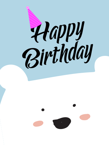 White Cute Bear Happy Birthday Card For Kids Birthday Greeting Cards By Davia Happy Birthday Cards Kids Birthday Cards Free Happy Birthday Cards