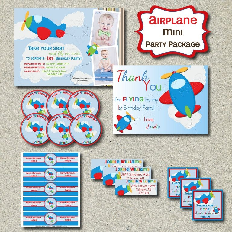 Plane Theme Birthday Party Package - Party Invite - You Print ...