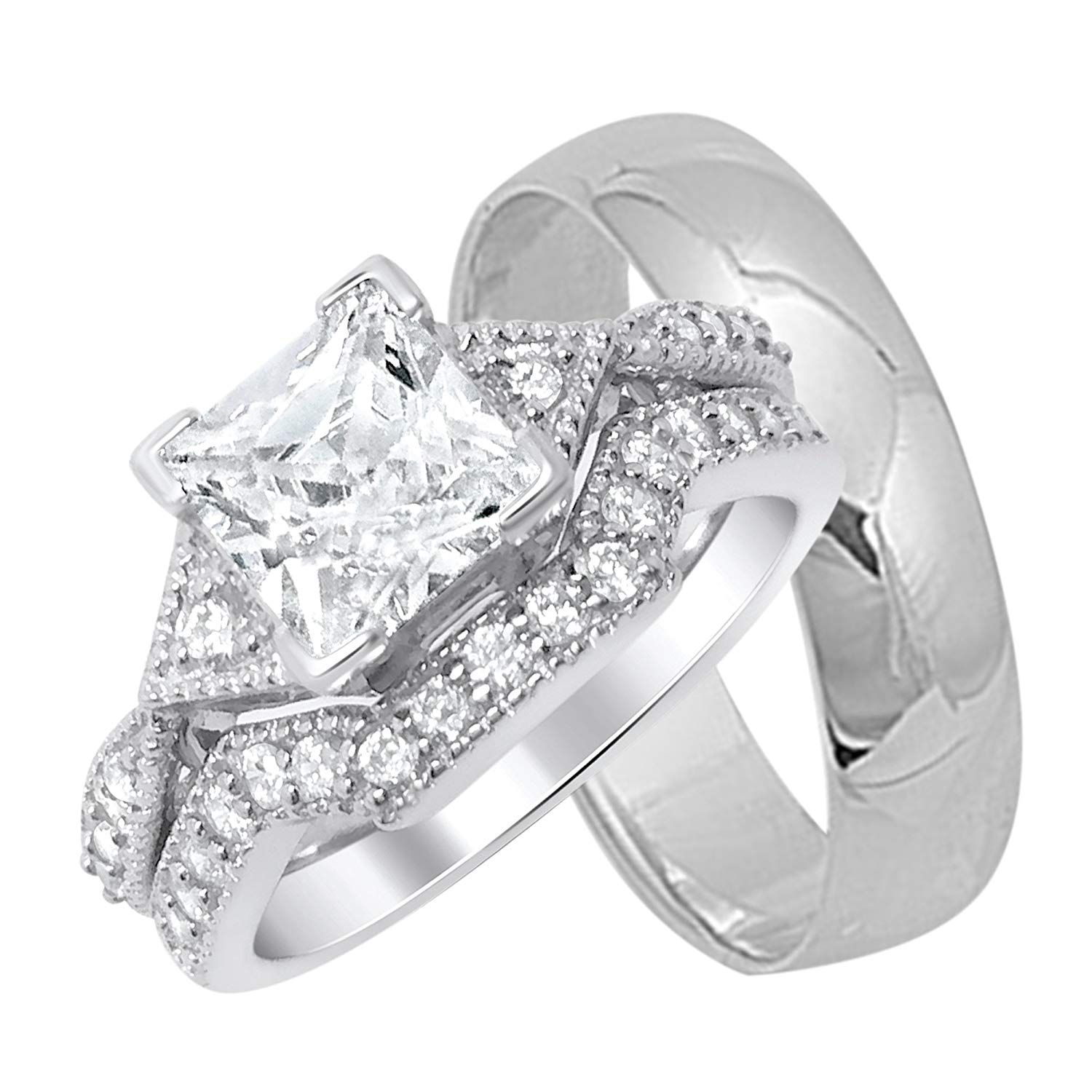 His and Hers Silver Wedding Rings Set Matching Bands For