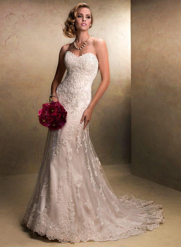Vintage Lace Sweetheart Wedding Dress