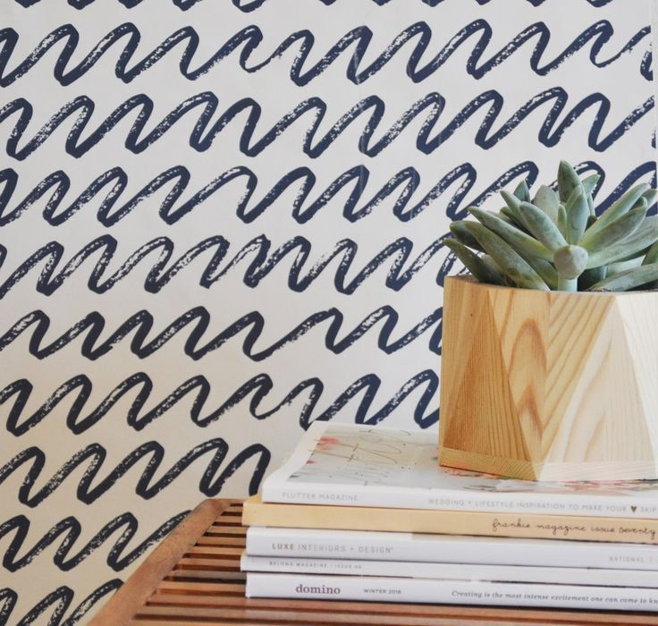 """Solid Color Removable Wallpaper For An Accent Wall: 24"""" X 48"""" Marker Waves Removable Wall Paper Tile"""