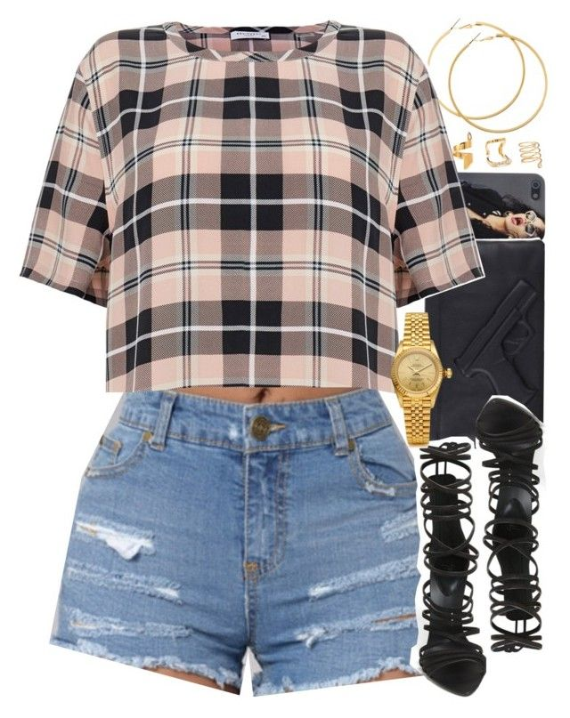 """""""Untitled #1521"""" by power-beauty ❤ liked on Polyvore featuring H&M, Giuseppe Zanotti, Equipment, Forever 21 and Rolex"""
