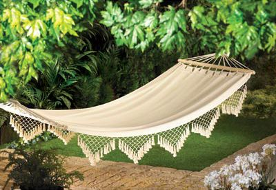 """$46.99 Recline in comfort in your favorite shady spot on this luxurious Cape Cod hammock.  Maximum weight: 264 pounds.  All cotton with wood frame and rope.  47 1/4"""" x 106 1/4"""" high."""