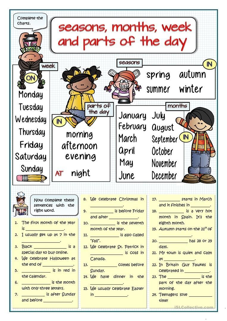 Seasons Months Week Parts Of The Day Fill In The Gaps Worksheet Free Esl Printable Worksheets Made Apprendre L Anglais Exercice Anglais English Exercice