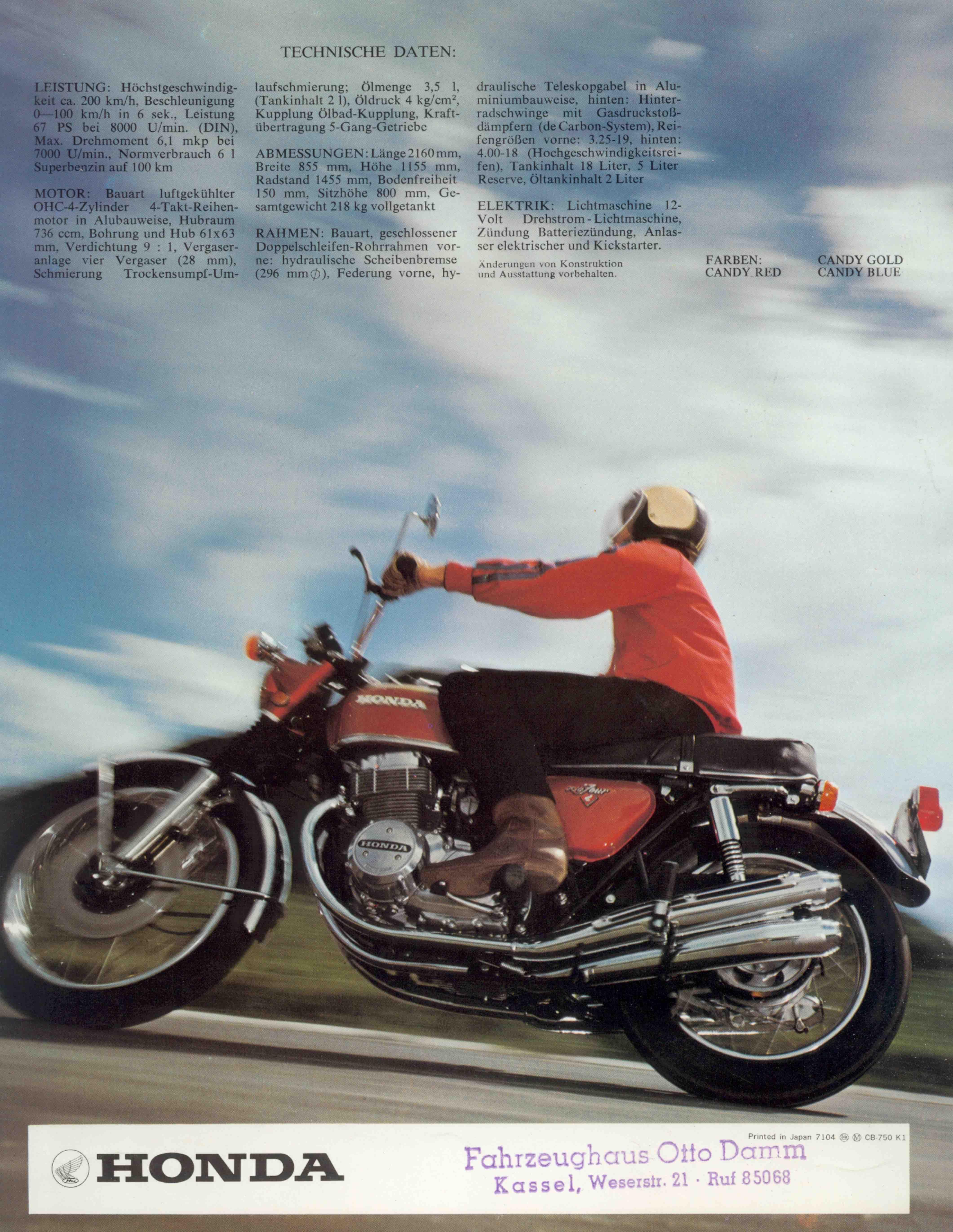 1971honda Cb750four K1 Brochuregermany06 Honda Cb750 Pinterest