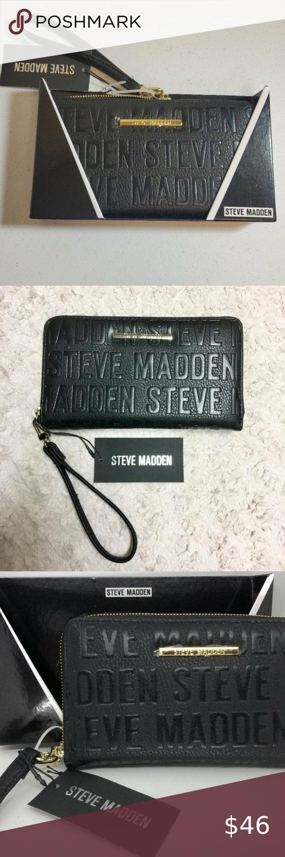 New In Box Steve Madden Logo Wristlet Zip Wallet Printed Wallets Zip Wallet Steve Madden