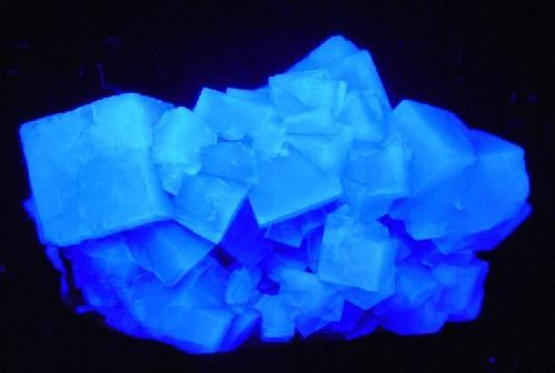 Fluorescing fluorite from Heights Mine, Weardale, North Pennines, County Durham, England, UK