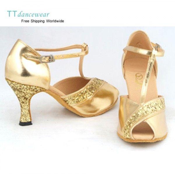 gold salsa shoes | Free Shipping Gold PU Glitter Ballroom Latin Salsa Dancing Shoes