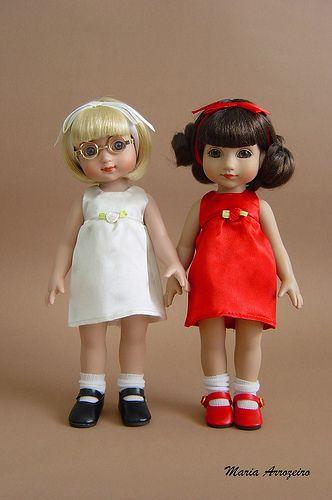 .Ann Estelle basic doll (2000)& Basic Sophie(2005) Redress with Angelina ballerina Snow White and Rose Red dresses   Flickr - Photo Sharing!