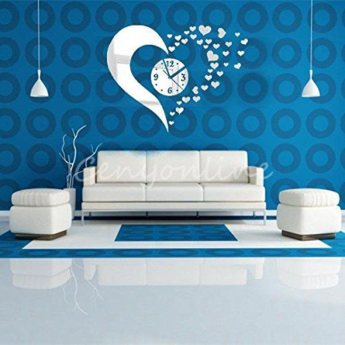 DIY Novelty 3D Home Art Hearts Mirror Decoration Wall Clock Living Room Silver Amazon