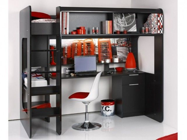 lit mezzanine bureau integre lit mezzanine pinterest lit mezzanine bureau lits mezzanine. Black Bedroom Furniture Sets. Home Design Ideas