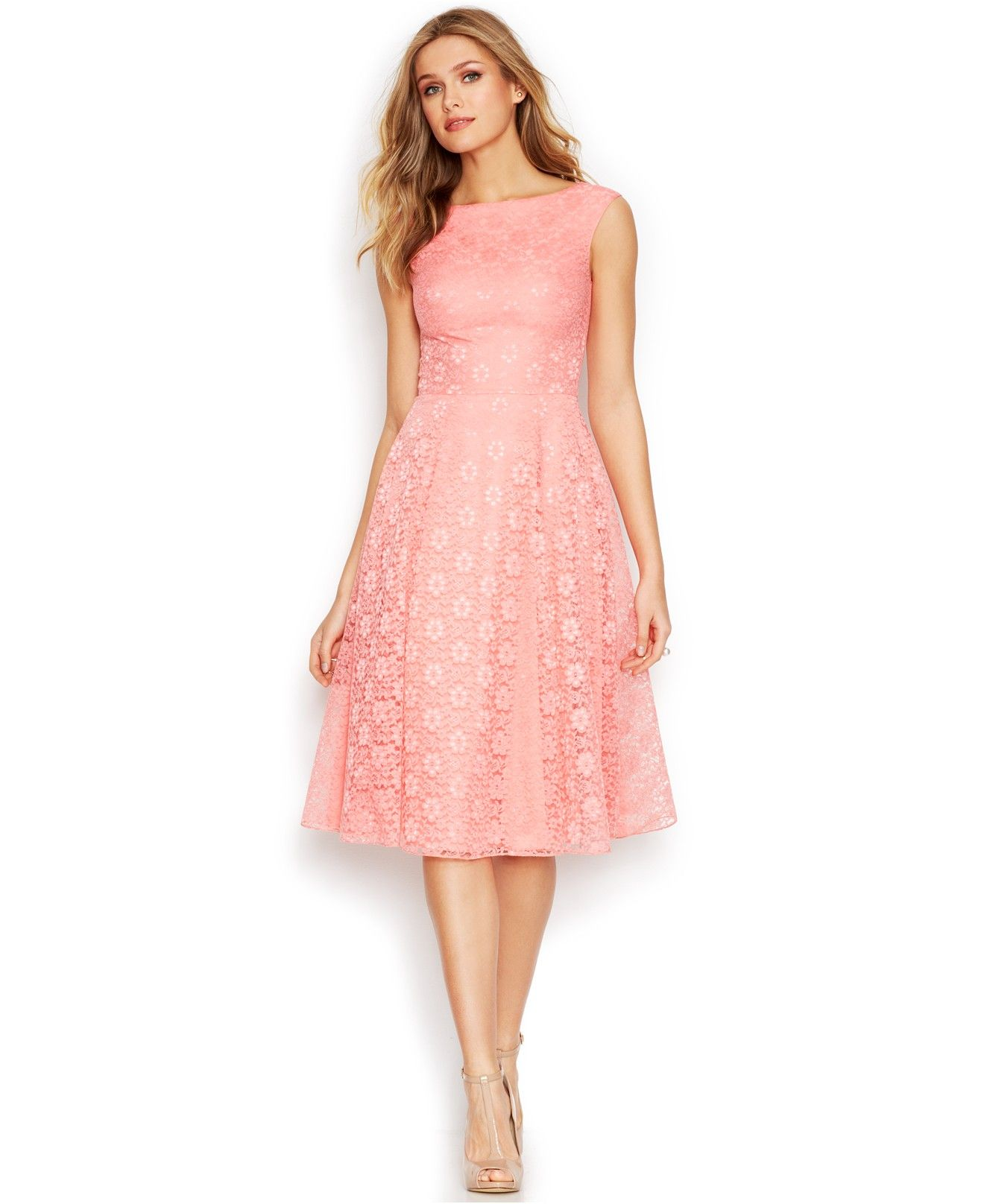 Betsey Johnson Floral-Lace Tea-Length Dress - Bridal Shower - Women ...
