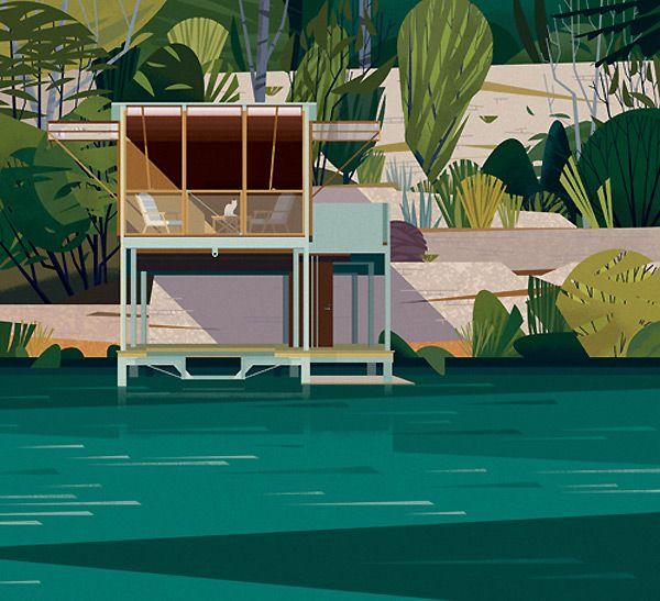 Picture Book Illustration Making An Architectural Model: Modern Cabin,illustration, Art, Mid Century Modern