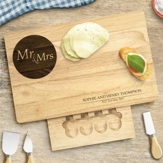 Engraved Large Rectangular Wooden Cheese Board Set - Mr and Mrs