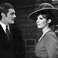 """Omar Sharif and Barbra Streisand in """"Funny Girl""""1968 Columbia** B.D.M. Black and White, Film Still, Hat, Pearl Necklace, Mustache, Moustache, Suit, Tie mptv_2017_Jan_to_April_Update"""