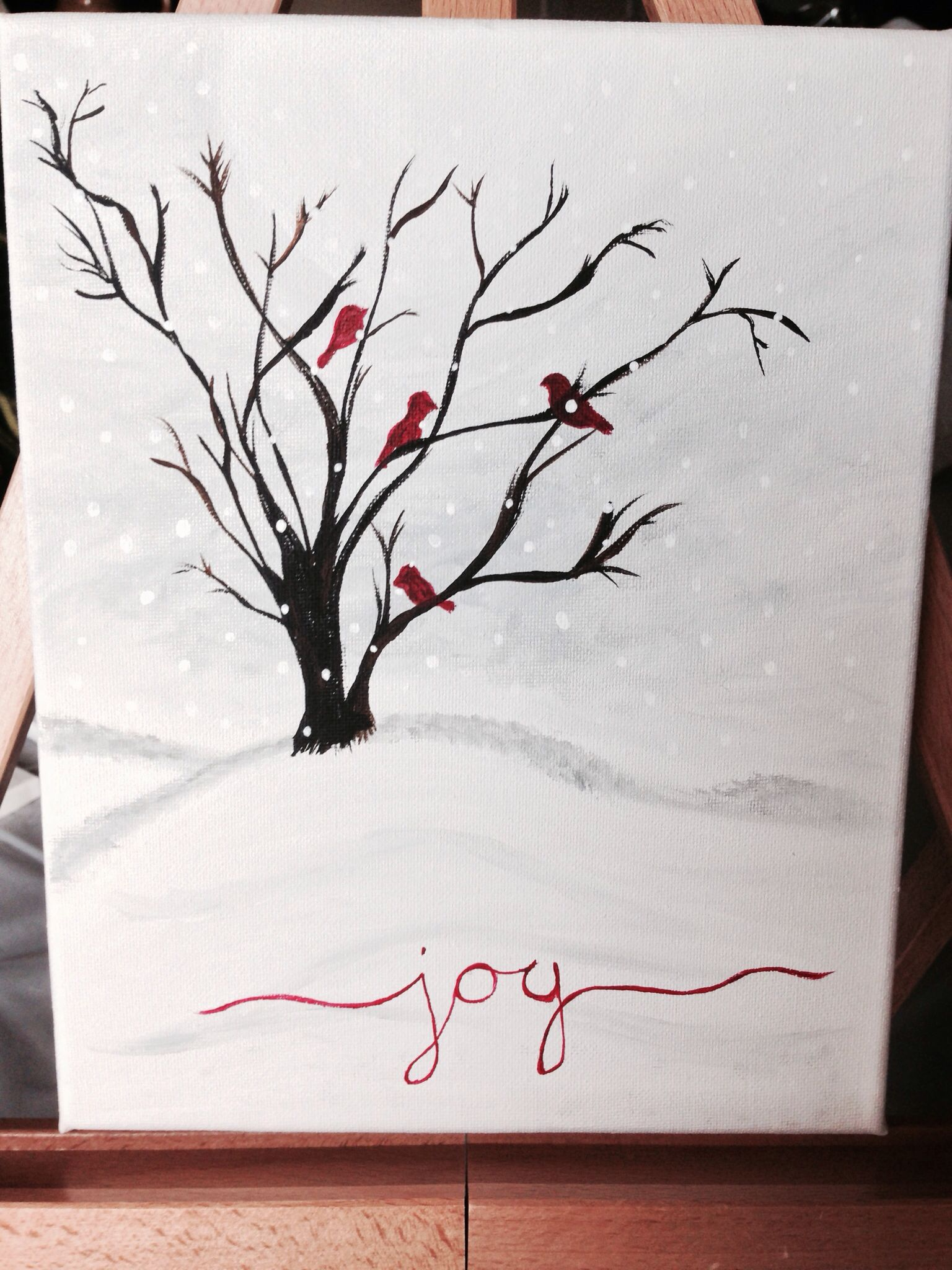 Winter Cardinals In Tree Branches Silhouette Against The Beautiful White Snow Cute Little Christmas Paintings On Canvas Christmas Watercolor Christmas Canvas
