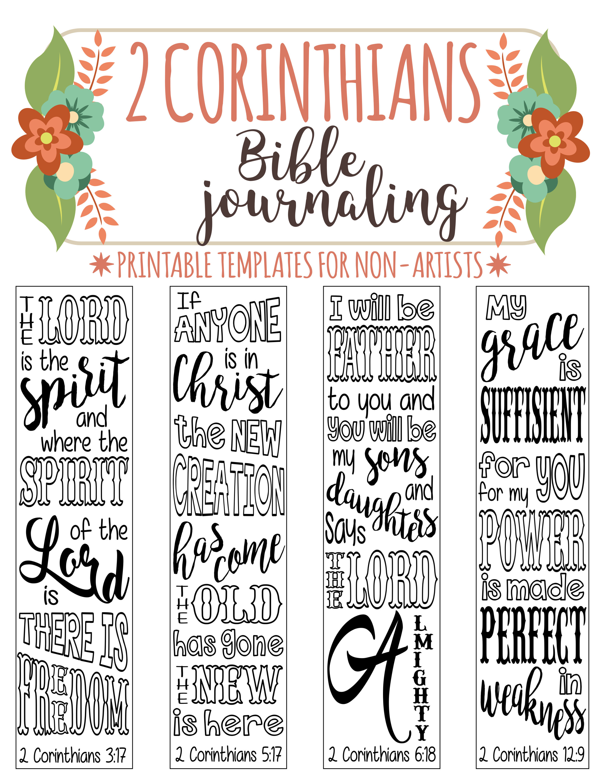 Religious bookmarks to color - 2 Corinthians Pintable Bible Journaling Templates For Non Artists Just Print Trace
