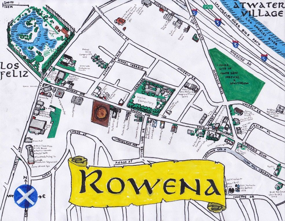 Silverlake Los Angeles Map.Oil Paint And Ink Map Of Rowena Avenue In Silver Lake Los Angeles