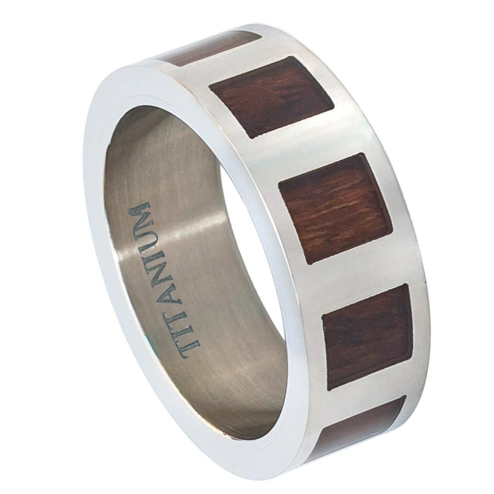 Titanium ring flat with square hawaiian koa rosewood inlay mm