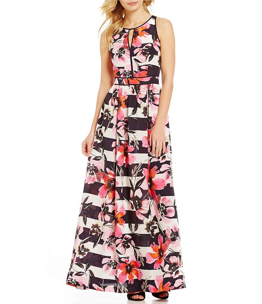 b4234944879 Vince Camuto Keyhole Sleeveless Floral Printed Maxi Dress