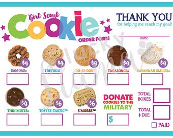 photograph relating to Girl Scout Cookie Thank You Notes Printable known as Female Scout Cookie Acquire Type Template 2018 - menu template