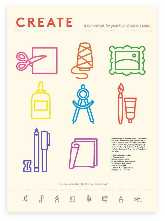 Art Supplies Symbol Set Taylor Nelson Graphic Design Typography Art Supply Stores Symbols
