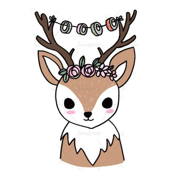 Deer kawaii. Clip art planner girl