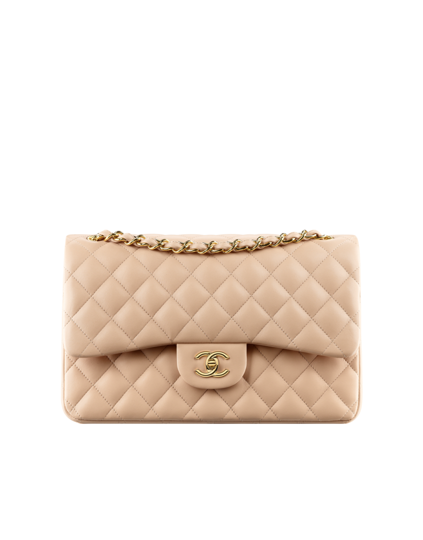 523ab0b380c6f9 Jumbo Classic flap bag in Beige with gold hardware (or another beige Chanel  bag) or Prada