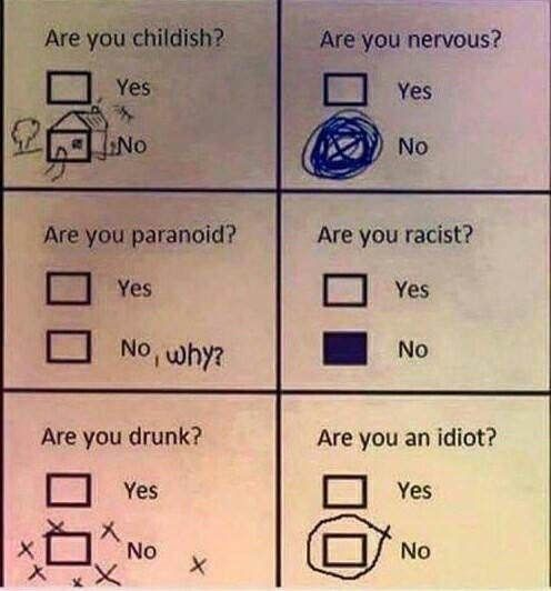 checking the no boxes in questionnaire when you should have been checking yes