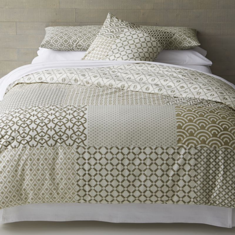 sereno hand-blocked bed linens | crate and barrel | sourcing for