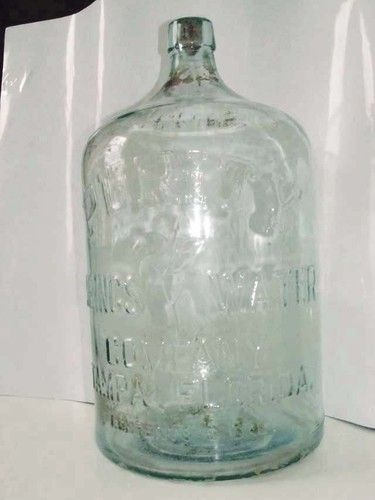 1926 Vintage 5 Gallon Water Bottle Jug Illinois Glass Co Purity Springs Tampa Fl Bottle Table Lamps Coffee Shop Branding Glass Bottles