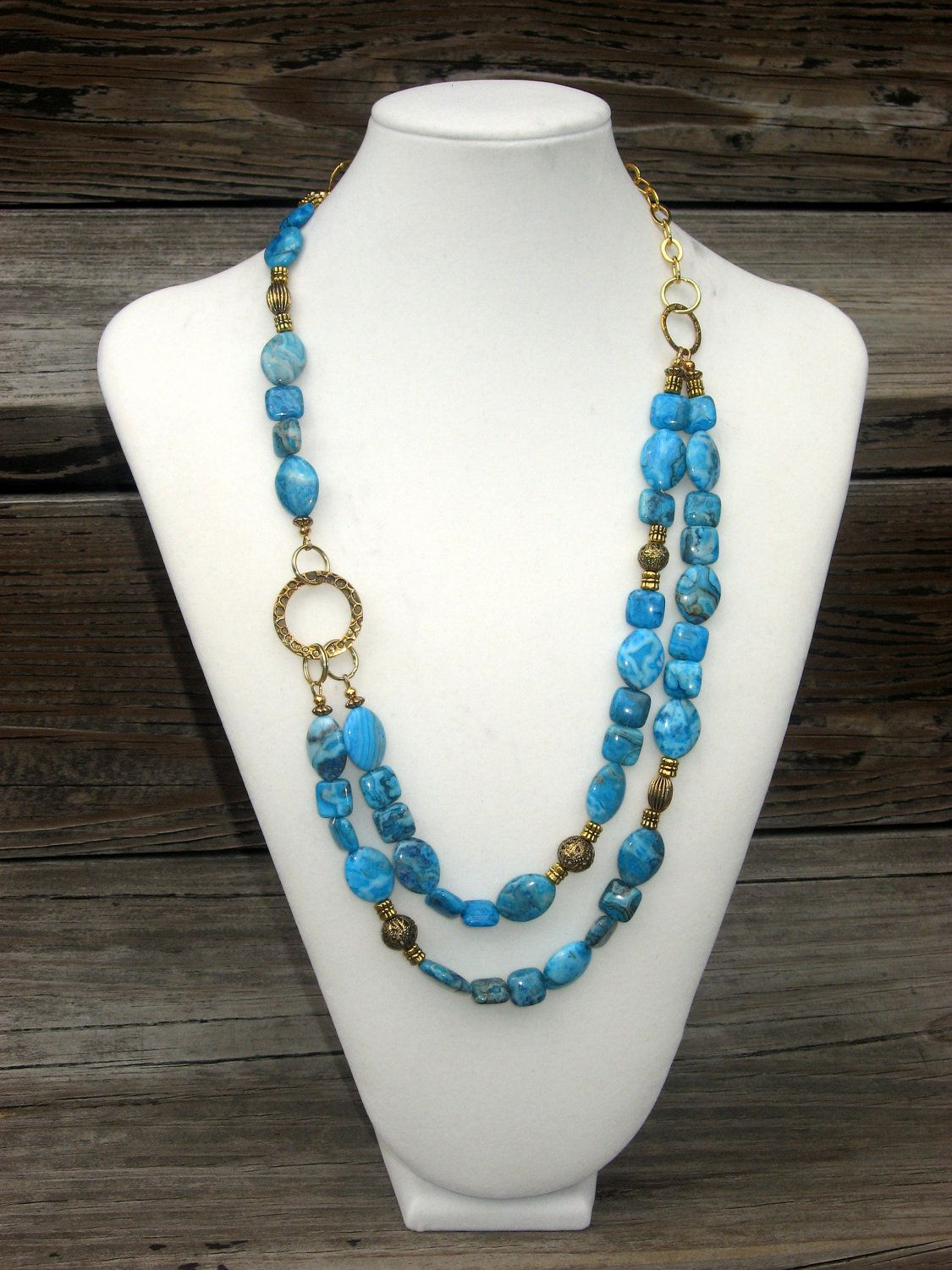 Turquoise Asymmetrical Crazy Lace Agate Necklace.