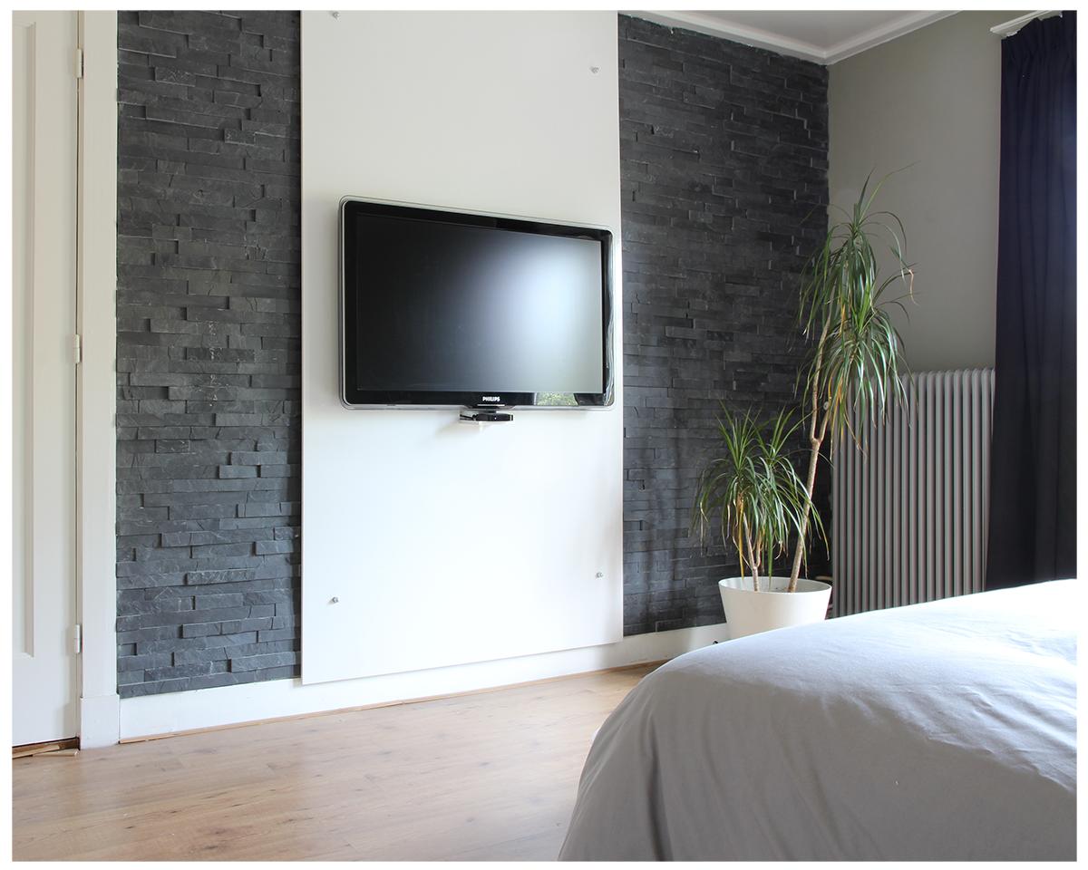 Slaapkamer tv wand steenstrips woonvoorbeeld wooninspiratie | Home ...