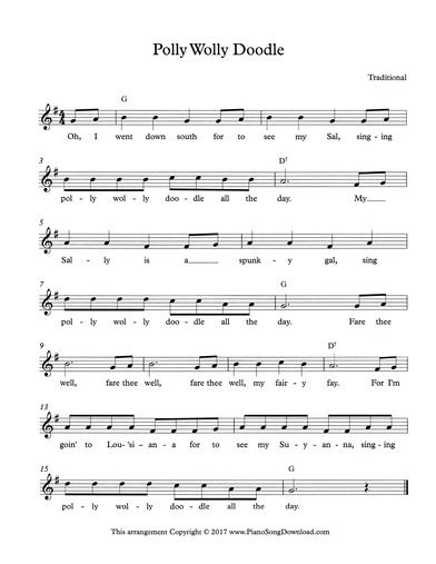 Polly Wolly Doodle Lead Sheet With Melody Chords And Lyrics Cat