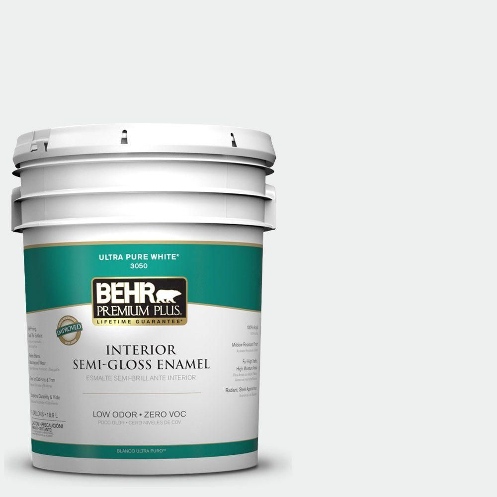 BEHR Premium Plus 5 gal. #57 Frost Semi-Gloss Enamel Interior Paint