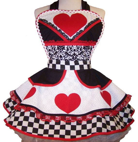 Queen Of Hearts Costume Apron CUSTOM ORDER for by WellLaDiDaAprons, $65.00